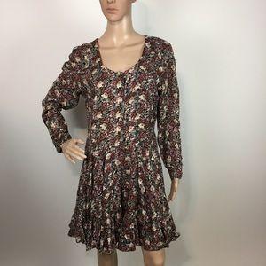 Nostalgia Floral Festival Boho Buttons Dress M